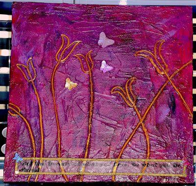 Tulip Butterflies Mixed Media on Wooden Canvas @The Art of Creativity Studio