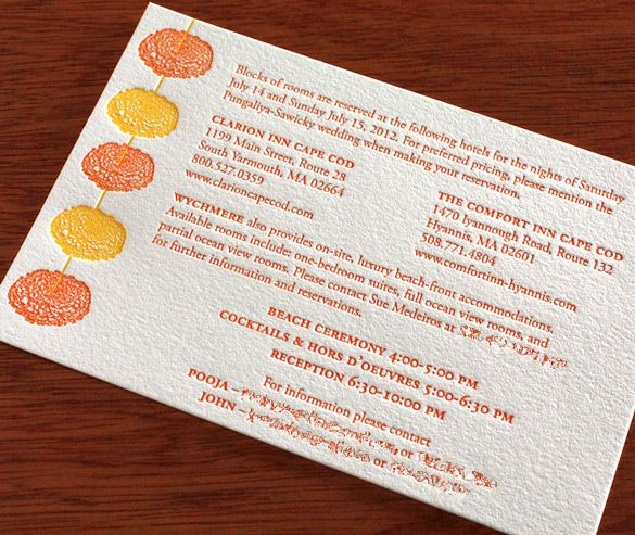 The colors pop in this Indian #letterpress wedding #invitation.