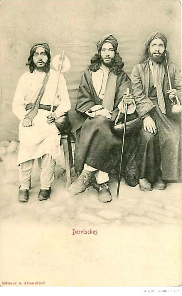 Dervishes, postcard from early 1900s. Photographs of Iranian dervishes by Antoin Sevruguin. The one on the left is holding a cresent shaped tabar (axe).