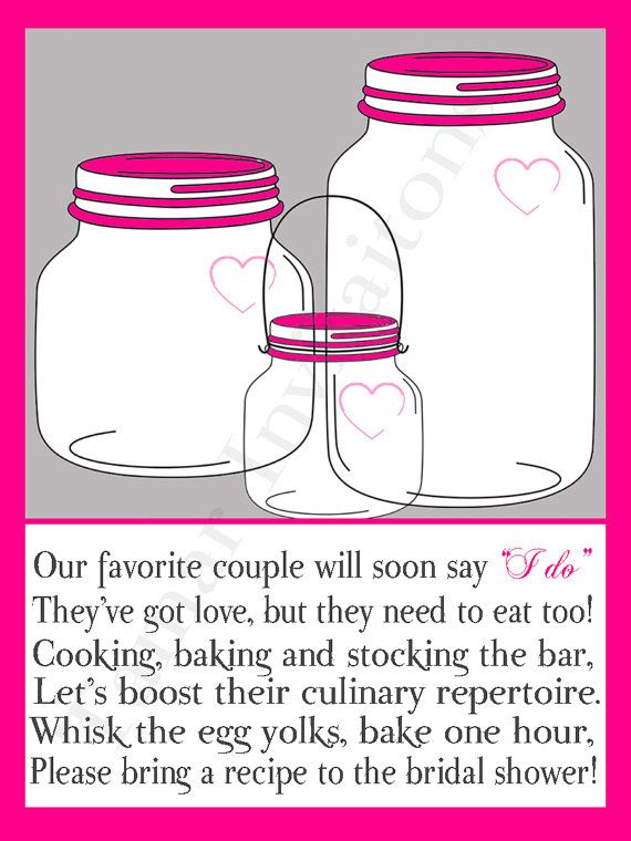 Printable Mason Jar Bridal Shower Invitations Recipe Cards With Poem