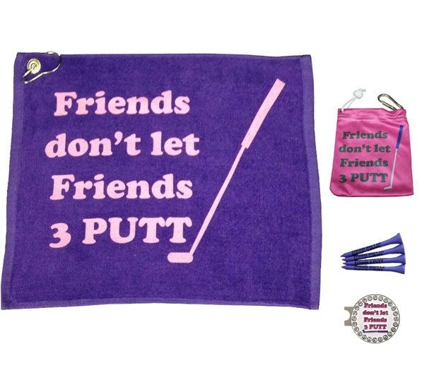 The Friends Par 3 has one Friends towel, one Friends tee bag & four Friends tees, and one bling Friends hat clip ball marker. Comes in a cute little mesh bag.