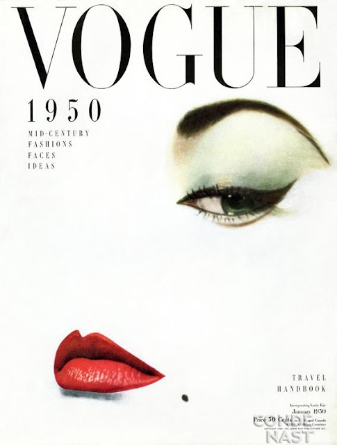 Red lips + strong brows = confidence. As seen on vintage Vogue cover 1950.
