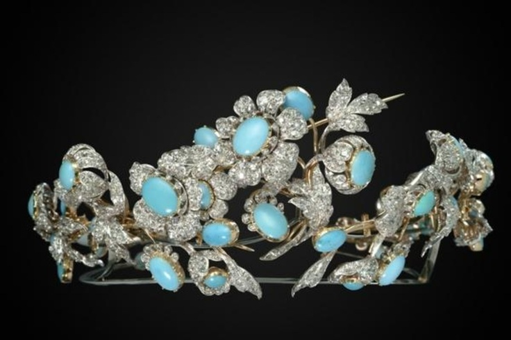 Diamond and cabochon turquoise tiara, c1860 by Mellerio dits Meller. With detachable brooch fittings. (view 2)