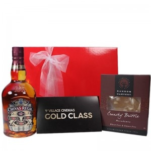 $189 - When quality matters; this is perfect gift for that man in your life, Gold Class Movie Vouchers, a bottle of Chivas Regal Premium Scotch Whiskey and some Crunchy Gourmet Brittle.