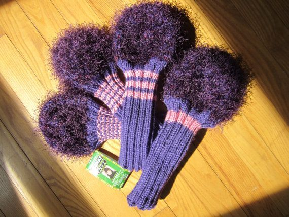 Fuzzy Knit Handmade Golf Club Head Covers by CaddyshackCreative