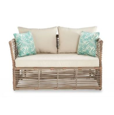 Simple, modern and tropical. This love seat brightens up any backyard patio or summerhouse