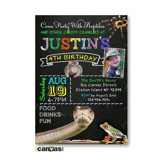 Reptile Party Invitation Reptile Party Birthday Invitation