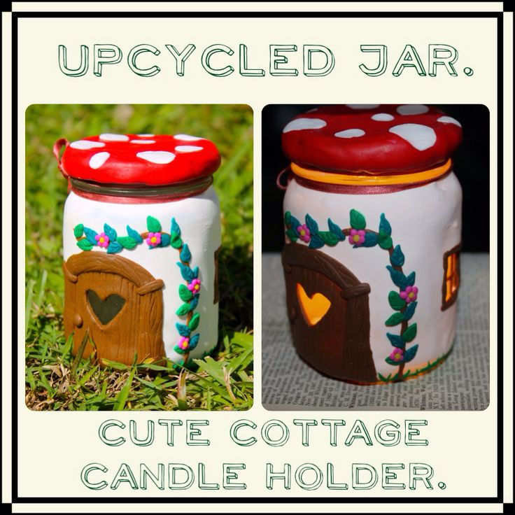 Upcycled jar. Candle holder. Polymer clay. Upcycling is goooood.