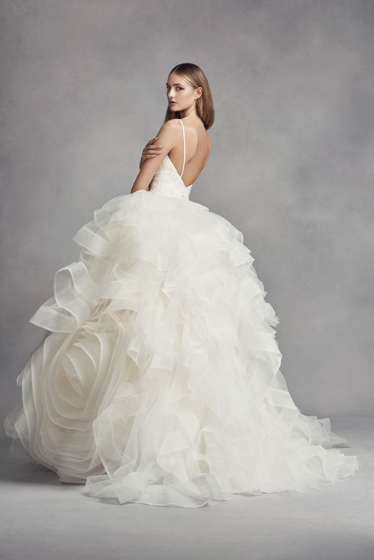 Spaghetti strap v neck organza rosette ball gown wedding for Vera wang princess ball gown wedding dress