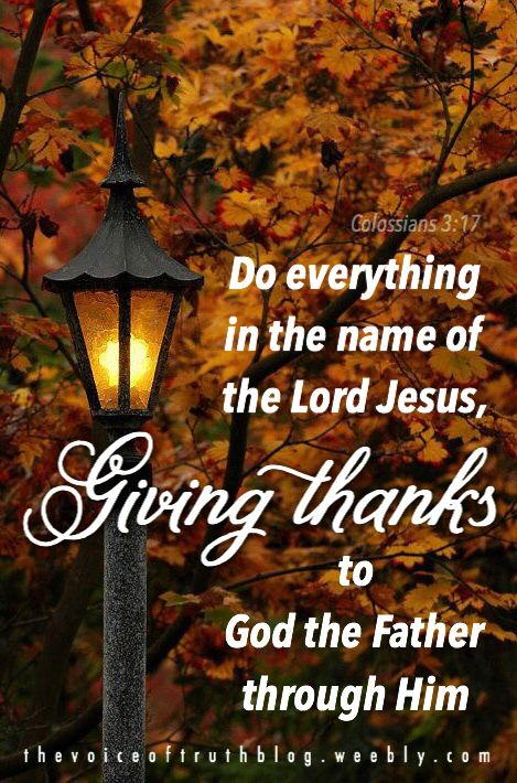 """Colossians 3:17 """"And whatever you do, whether in word or deed, do it ALL in the name of the Lord Jesus, giving thanks to God the Father through Him."""" — thevoiceoftruthblog.weebly.com"""