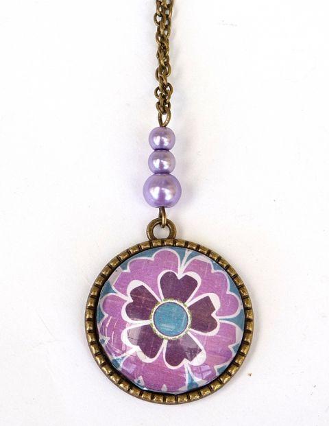 Lila virág üveglencsés nyaklánc, Ékszer, óra, Nyaklánc, Meska