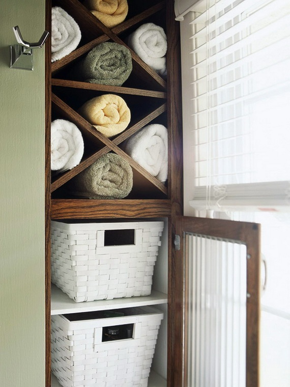 Best Organized Bathrooms Images On Pinterest Organized - Rolled towel storage for small bathroom ideas