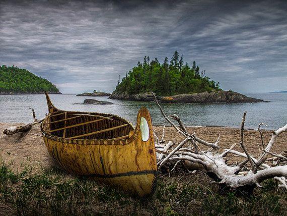 Birch Bark Canoe ashore on Driftwood Beach by WaWa on the North Lake Superior Shore in Ontario Canada No.15502 A Beach Landscape Photograph