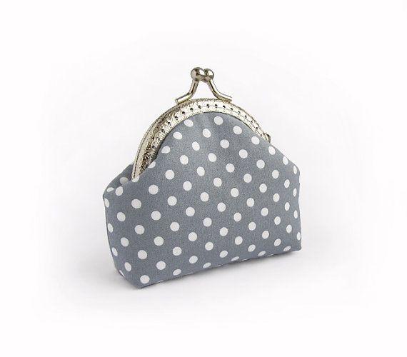 Polka dots coin purse  Gray white lavender by VasilinkaStore, $22.00