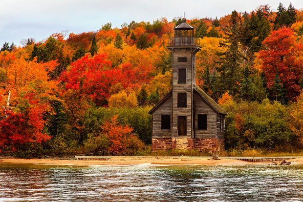 Latarnia nad jeziorem Michigan, USA