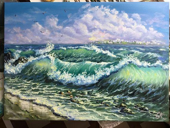 Large Oil Painting Ocean Wave Painting Beach Decor Wall Art Seascape Paintings Original Landscape Painting Canvas Sea Painting Impressionism Ocean Waves Painting Ocean Wave Painting Wave Painting