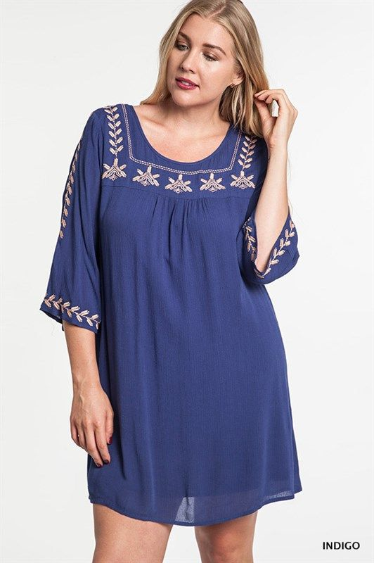 Kelly Brett Boutique: Women's Online Clothing Boutique - Plus Size Bell Tunic Dress Indigo, $42.00 (http://www.kellybrettboutique.com/plus-size-bell-tunic-dress-indigo/)