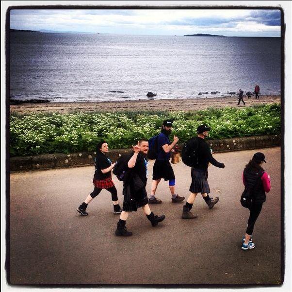 Outlander actors/crew & family taking part in the Kiltwalk for Children in Edinburgh, 5/11/14  (Grant O'Rourke)