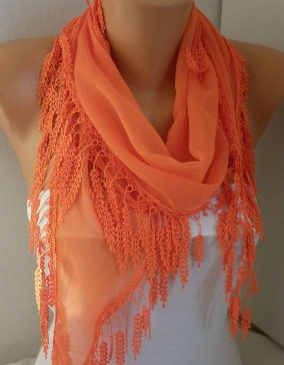 ON SALE  Orange Scarf Cotton Scarf  Cowl with Lace by fatwoman,
