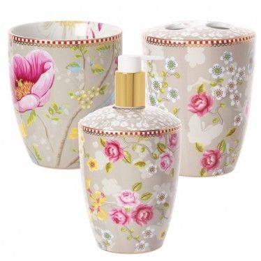 Pip Studi Set Of 3 Khaki Floral Bathroom Accessories