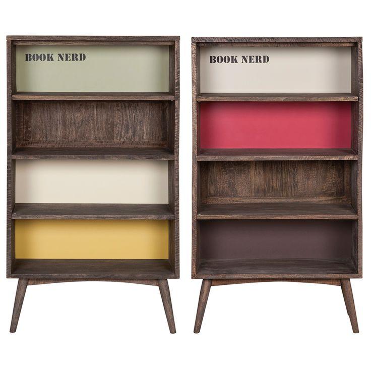 Loft Bookcase - Βιβλιοθήκη από μασίφ ξύλο μάνγκο  Σε δύο χρώματα: - Pale version (Χακί/Λευκό/Κίτρινο) - Bright version (Λευκό/Κόκκινο/Καφέ)