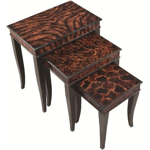 Coaster nesting tables 3 piece animal print nesting table for Cheap funky furniture
