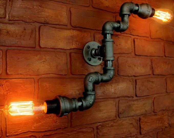 Tubo iluminación industrial / arte de la pared, pared de Steampunk encender la bombilla de edison - pared única lámpara Luminaria industrial lihgtingblack tubo luz