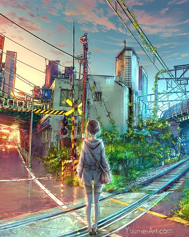 A close up of my last post :) #painting #illustration #art #digitalart #digitalpainting #yuumei #artistsofinstagram #digitalart #drawing #japan #sunset #clouds