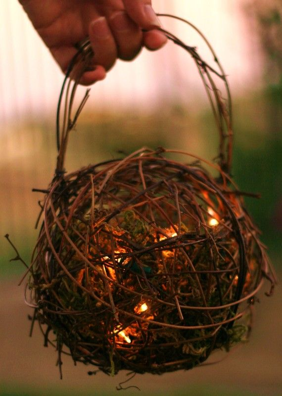 Rustic Flower Girl Firefly Lantern... grapevine ball filled w/ moss and battery powered string lights