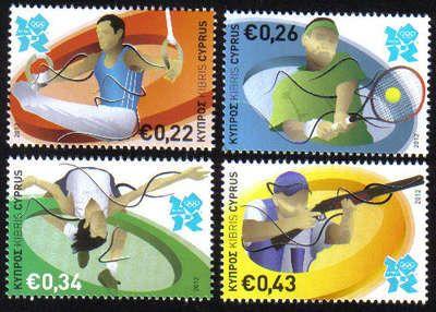 Chypre, timbres des Jeux Olympiques de Londres 2012 (gymnastique, tennis, tir, athlétisme) © DR.