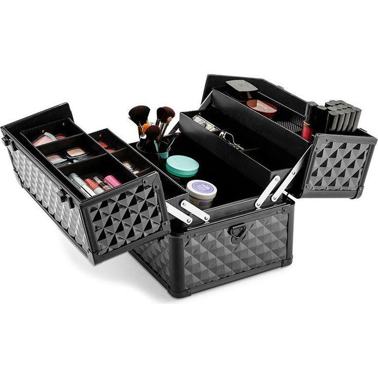 Portable Metal Cosmetic Carry Case Black Diamond   Buy Makeup Trolleys