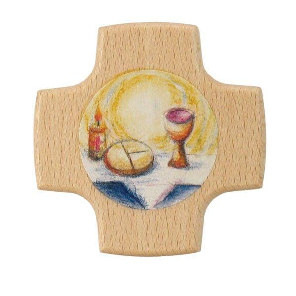 Holzkreuz, Brot und Wein 8 x 8 cm bedruckt