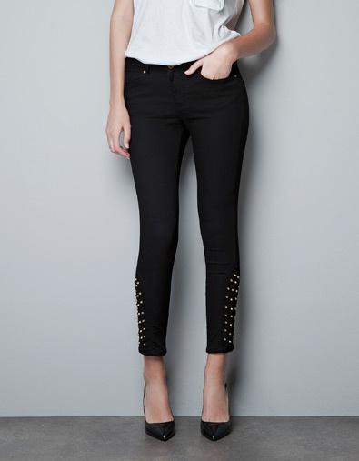 STUDDED HEM TROUSERS - Trousers - Woman - ZARA United States