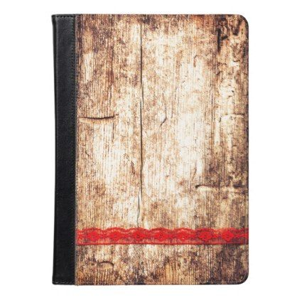 Wooden Texture Background. Red Ribbon. Gift Wrap iPad Air Case - Xmas ChristmasEve Christmas Eve Christmas merry xmas family kids gifts holidays Santa