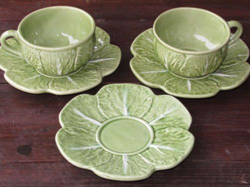 Vintage Bordallo Pinheiro Lt Green Cabbage Cups and Saucers 2 cups 3 saucers & The 24 best Dinnerware: Pottery Bordallo Pinheiro images on ...