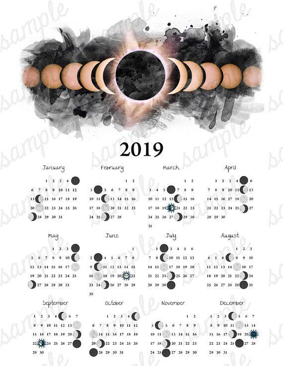 2019 Calendar Celestial Moon Phases Wall Art Boho Watercolor Galaxy