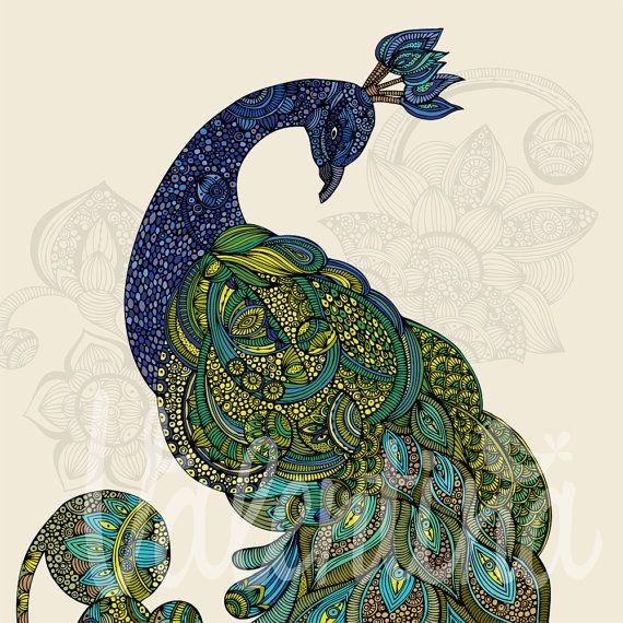 Eva the peacock print by valentinadesign on Etsy, $15.00