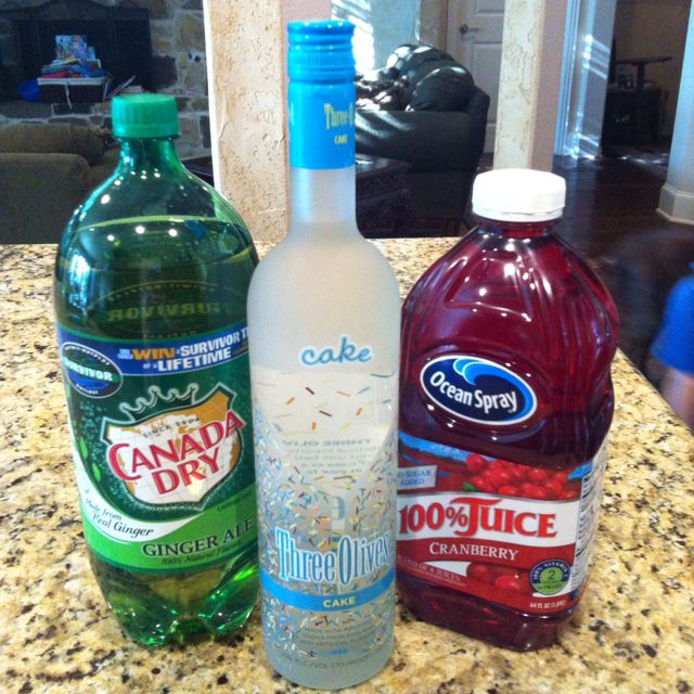 Fantastic summer drink. Birthday cake vodka, cranberry juice and ginger ale over ice. Mix it to your liking!