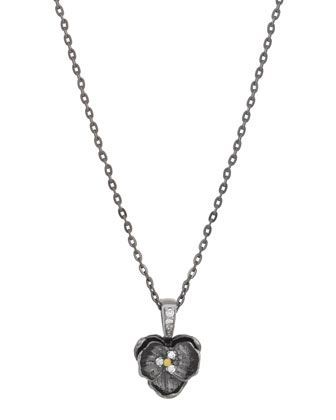 Small+Orchid+Pendant+Necklace+with+Diamonds+in+Black+Rhodium+Plate+by+Michael+Aram+at+Neiman+Marcus.