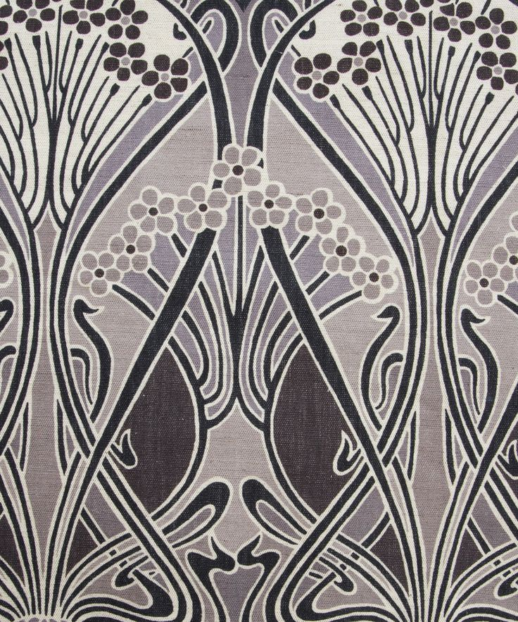 Grey ianthe print by liberty of london furnishing fabrics for Art deco style fabric