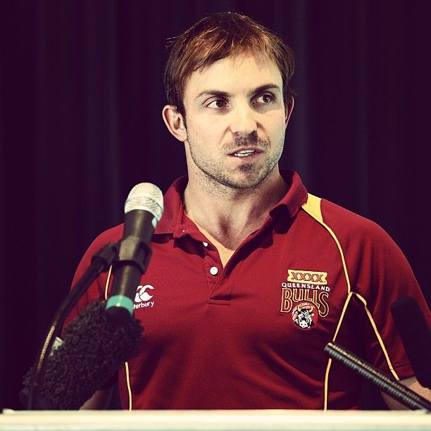 Queensland Bull Chris Hartley fronts the media ahead of tomorrow's #BupaSS Final