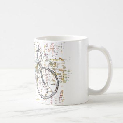 #Colourful bike drawing coffee mug - #cycling #gifts
