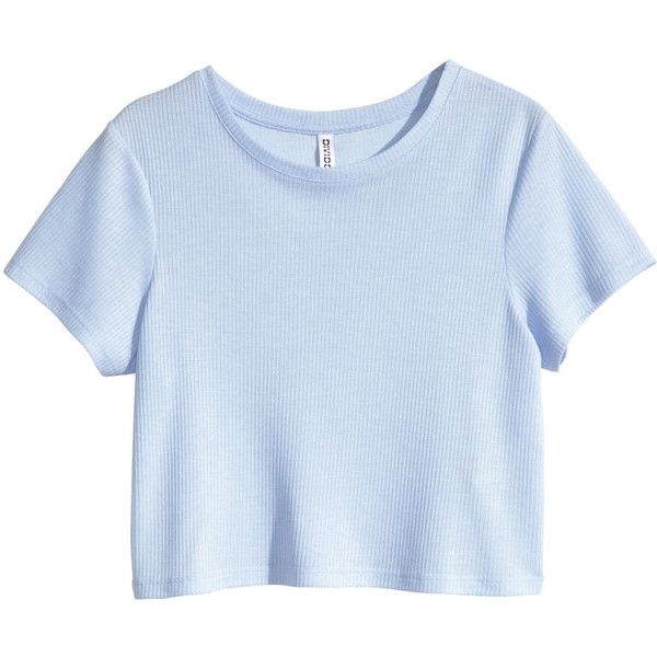H&M Ribbed jersey top (29 DKK) ❤ liked on Polyvore featuring tops, t-shirts, shirts, crop tops, ribbed t shirt, tee-shirt, blue short sleeve shirt, polyester shirt and ribbed tee