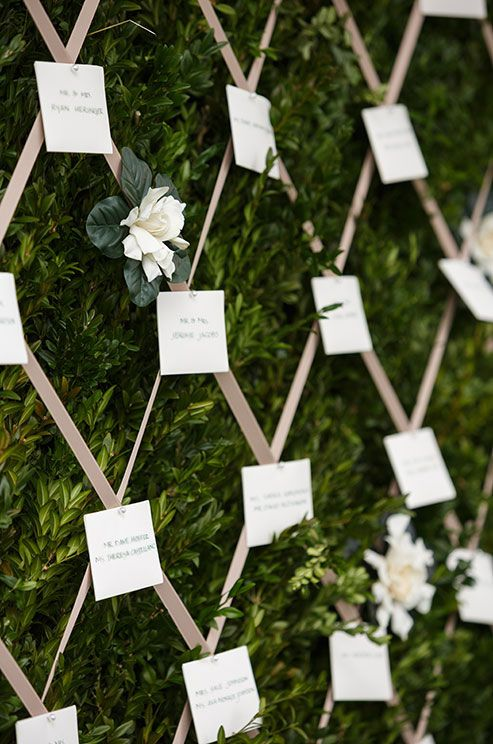 Place cards are attached to a lush green wall with dusty rose colored ribbons with pearl pins.