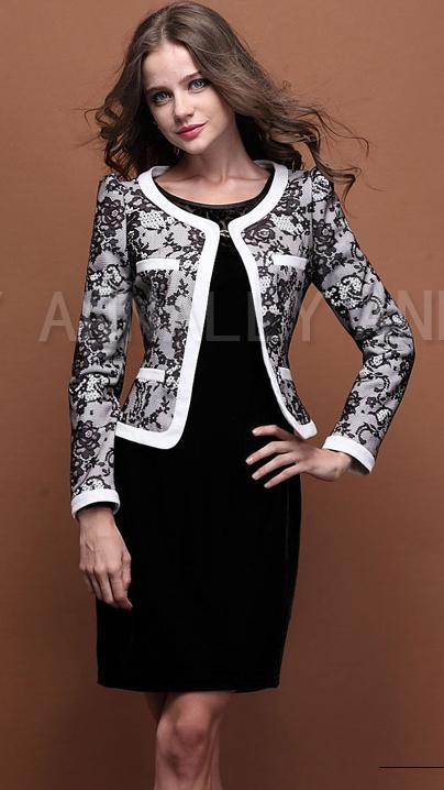 Composite lace female suit/ Slim long-sleeve small suit