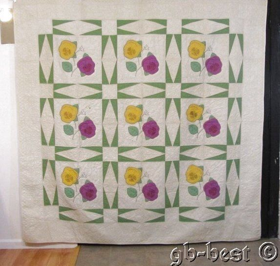 Romantic C 30s Pansy Vintage Quilt Green Touching Stars Crisp 86 x 85 Yellow | eBay