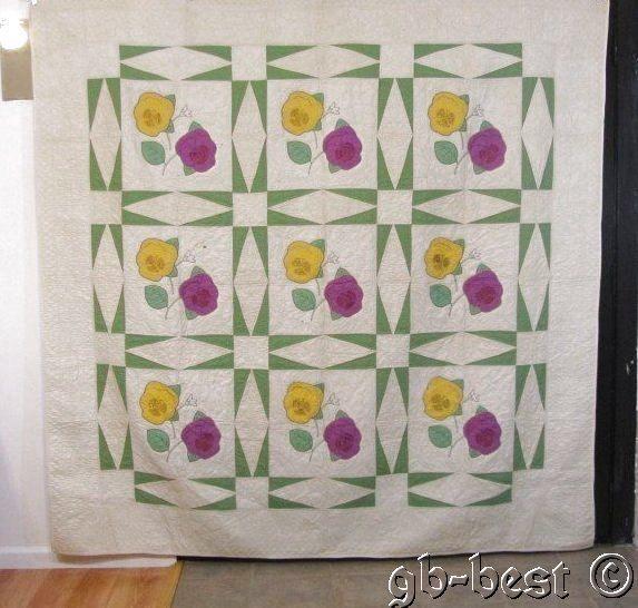 Romantic C 30s Pansy Vintage Quilt Green Touching Stars Crisp 86 x 85 Yellow | eBay