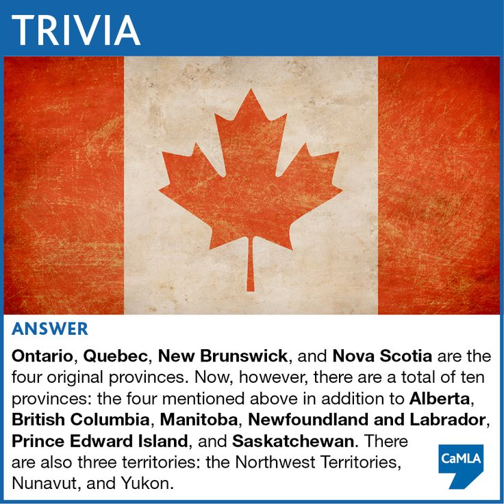 The trivia question was: Canada Day falls on July 1 every year and commemorates the day Canada became a self-governing country in 1867. At that time, the country was divided into four provinces. Can you name the four original provinces? How about the provinces and territories that have been added since?