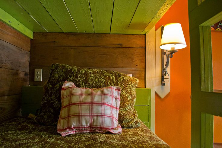 Gorgeous built-in bunks in the November-themed room at Tejas, a camp and retreat center in Giddings, TX