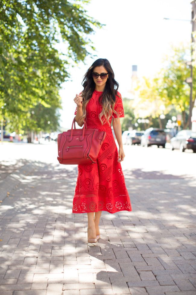 OCTOBER 13TH, 2015 BY MARIA Lady In Red - Asos Red Dress // Christian Louboutin So Kate Heels // Celine Bag // Elizabeth & James Sunglasses